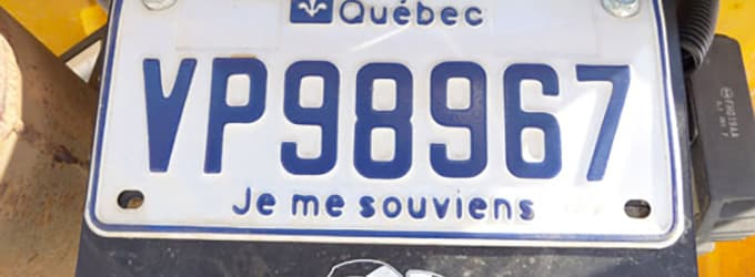 plaque immatriculation quebec