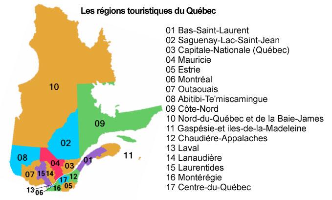 carte région touristique du québec
