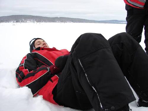 detente dans la neige