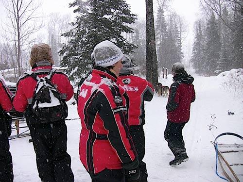 voyageurs sous neige