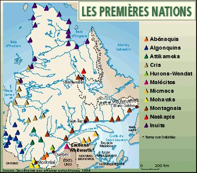 carte amerindien quebec