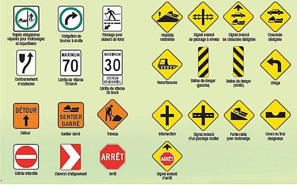 panneau signalisation sentier de motoneige