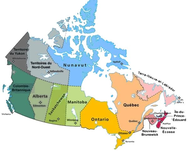 carte provinces canadiennes