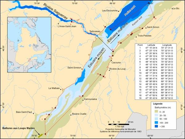 carte population du béluga au Québec